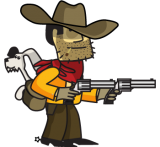 Johhny Revolver dog Remmington and revolvers